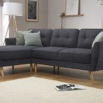 Harlow Slate Grey Plush Fabric L Shape Corner Sofa LHF | Furniture Choice