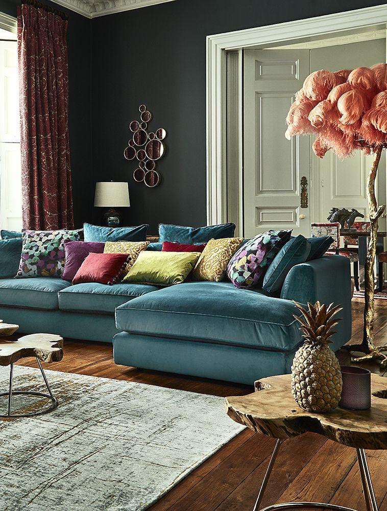 Harrington Large Chaise Velvet Sofa, RHF – Barker & Stonehouse