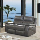 Heitman Contemporary Love Seat Leather Manual Wall Hugger Recliner