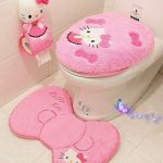 Hello kitty bathroom set toilet set cover mat holder closes tool lid cover