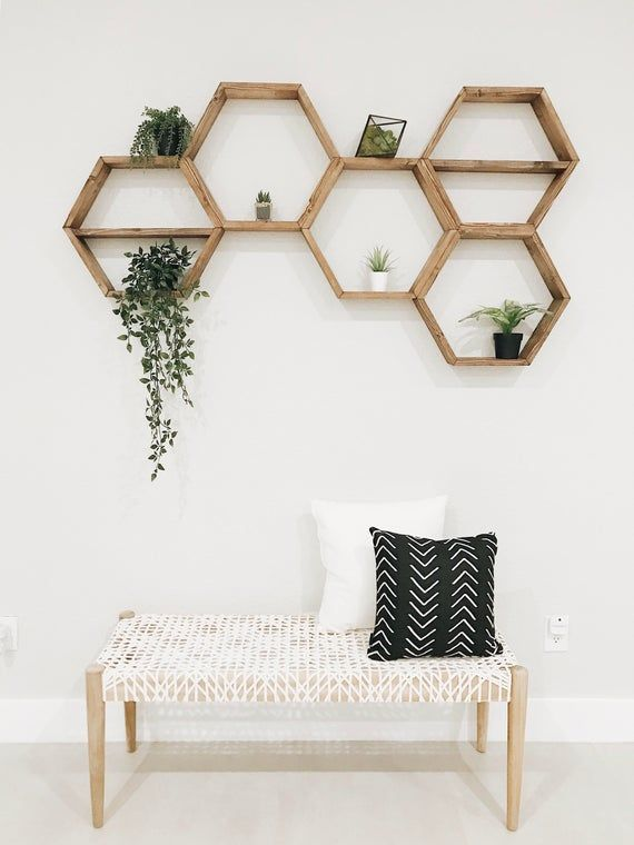 Hexagon Shelves | Honeycomb Shelf | Floating Hexagon Shelf | Wall Art | Geometry Shelves