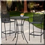 High Bistro Set Bar Height Patio Outdoor Porch Table Chairs Wrought Iron 3 Piece for sale online | eBay