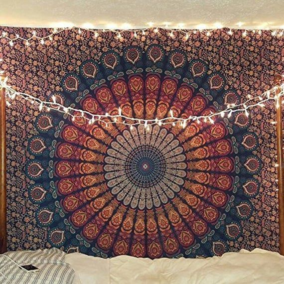Hippie Mandala Bohemian Psychedelic Intricate Floral Design Indian Cotton Bedspread Picnic Bedsheet Wall Art Hippie Tapestry, 85 x 90 Inches