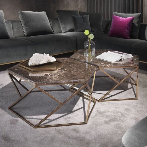 Hive Hexagonal Marble Coffee Table, Contemporary