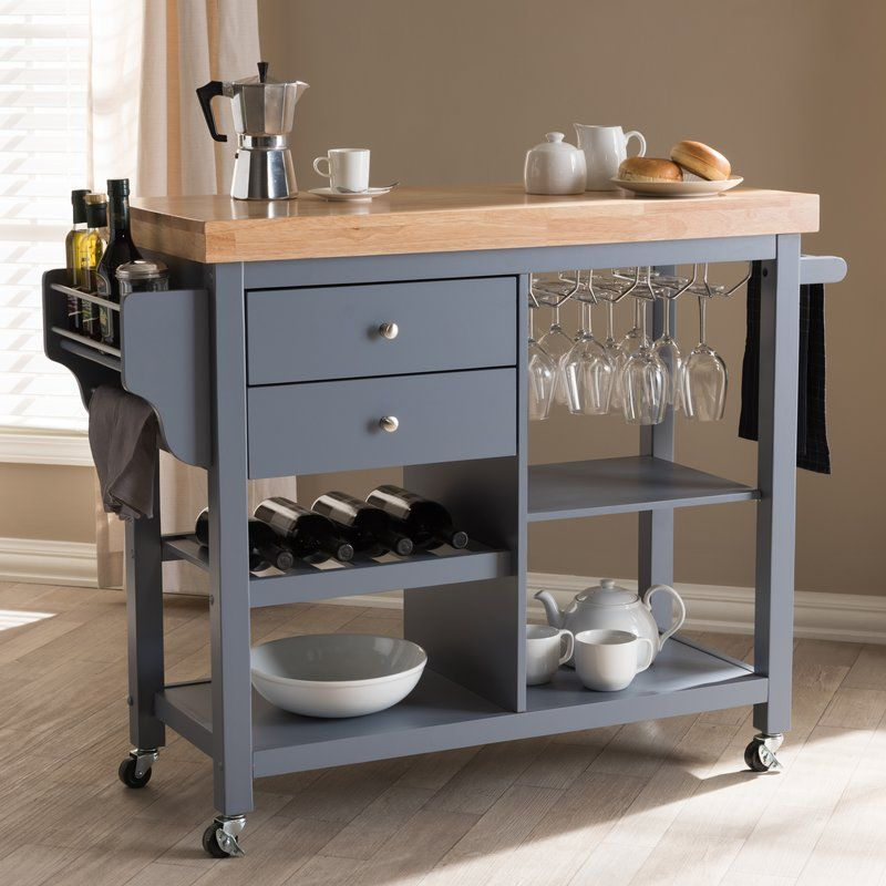 Hoglund Kitchen Cart with Wood Top