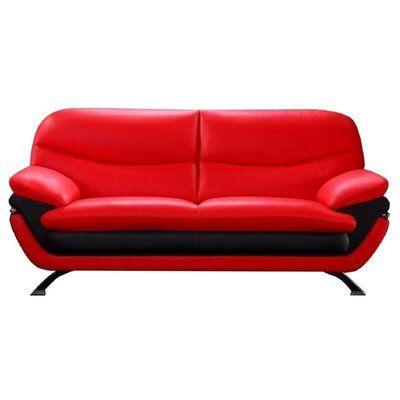 Hokku Designs Jonus Leather Sofa   Wayfair