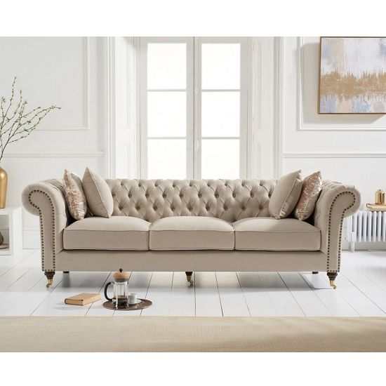 Holbrook Chesterfield 3 Seater Sofa In Beige Linen   Furniture in Fashion