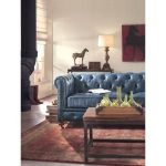 Home Decorators Collection Gordon Blue Leather Sofa 0849400310 - The Home Depot