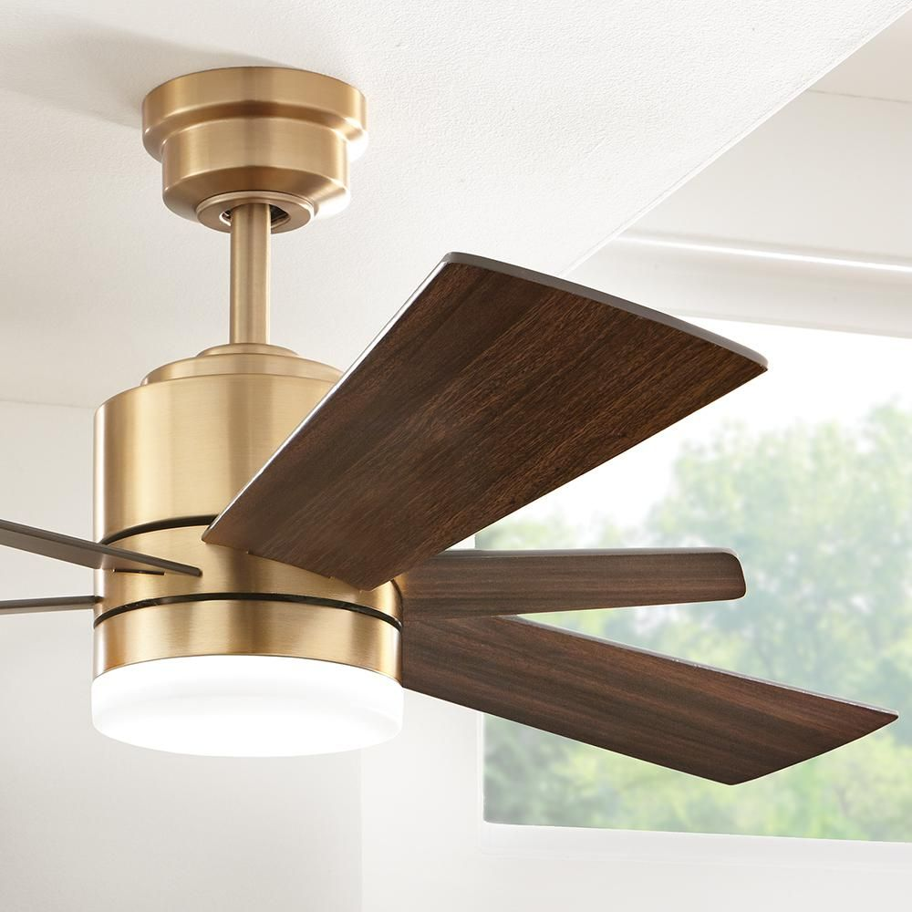 Home Decorators Collection Hexton 52 in. LED Indoor Brushed Gold Ceiling Fan with Light Kit and Remote Control-56024 – The Home Depot