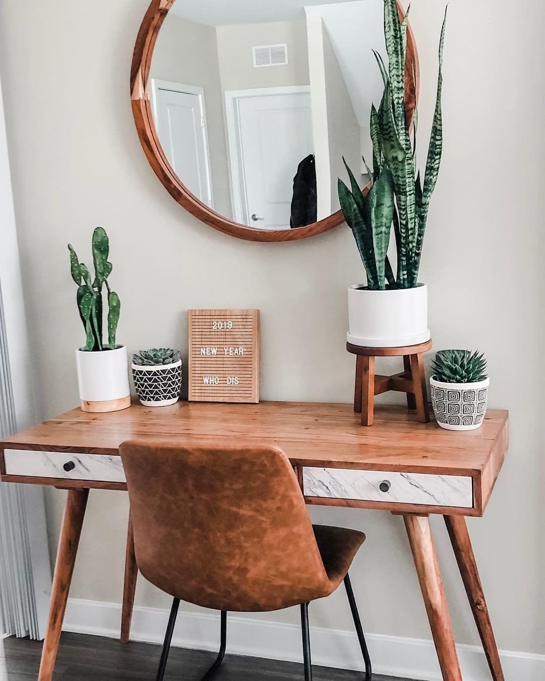 """HomeGoods on Instagram: """"Let's get down to business! Chelsea and Chloe, from @onedreamtwosisters, found a sleek wooden desk with marble accents at their HomeGoods.…"""""""