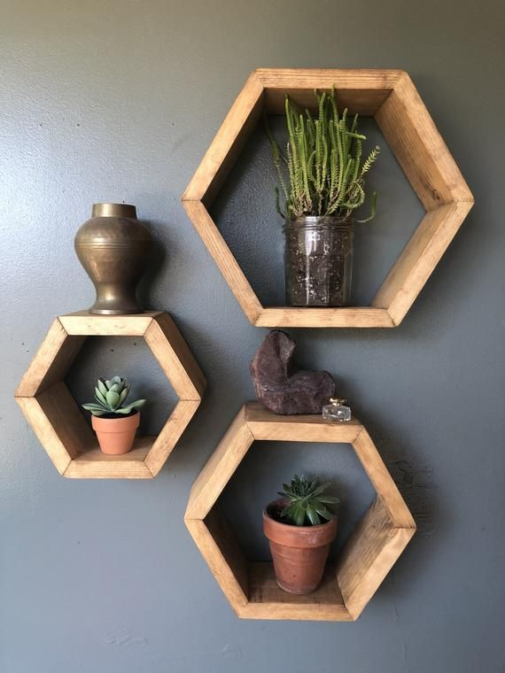 Honeycomb Shelves | Set of 3 | Honeycomb Wood Shelves | Hexagon Shelves | Hexagon Cubbies | Floating Shelf | Geometric Shelf | Wood Shelfs