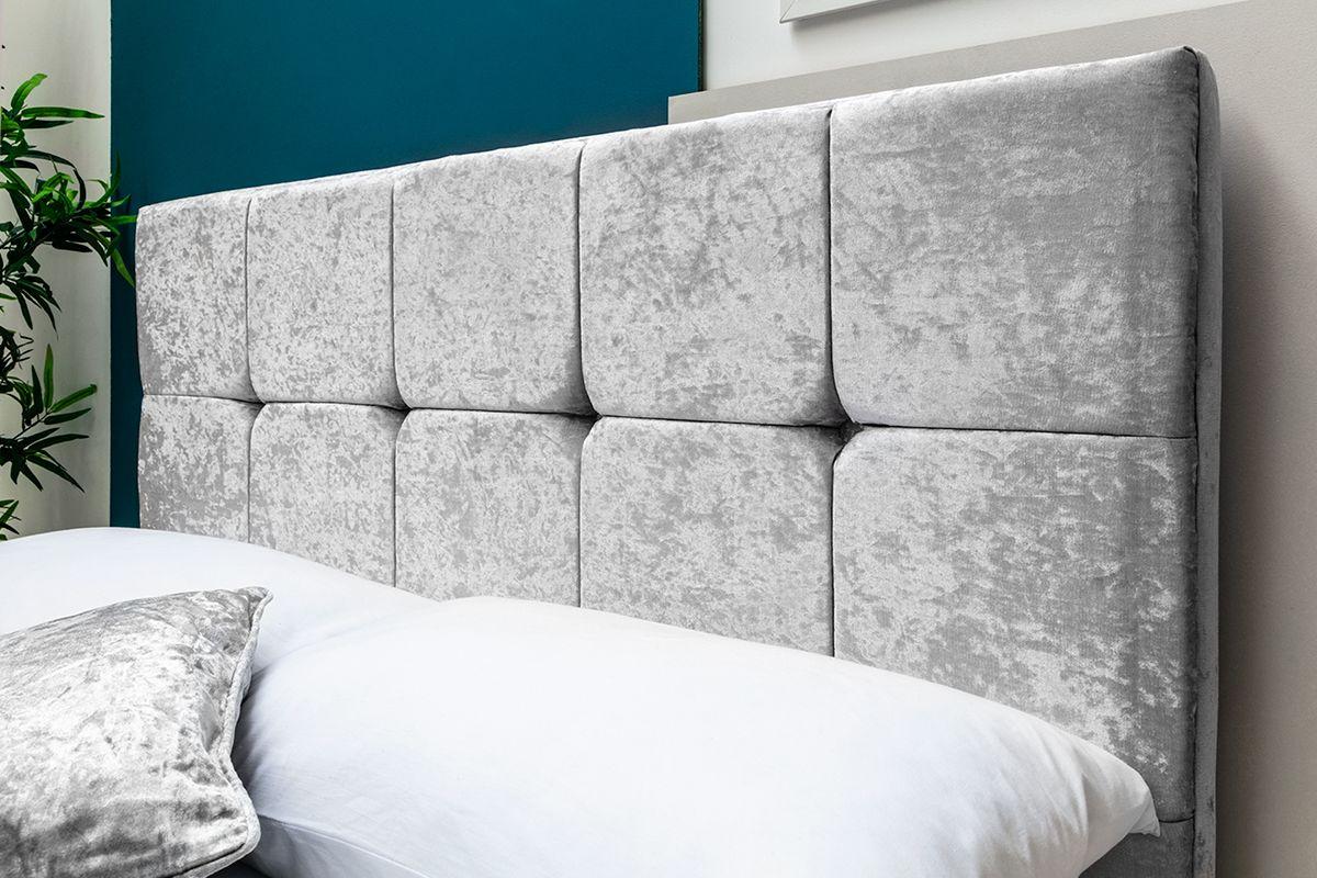 Horwood Silver Crushed Velvet Ottoman Storage Bed Frame Double/King Sizes