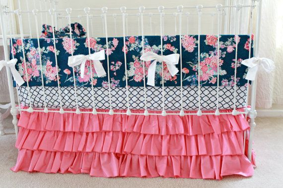 Hot Pink and Navy Baby Girl Bedding, custom crib bedding, navy and pink floral baby bedding, Navy white pink modern nursery  by lottiedababy
