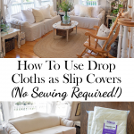 How To Use Canvas Drop Cloths as Slip Covers (No Sewing Required!)