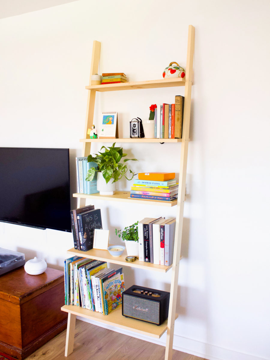 How to Build a DIY Leaning Bookshelf | Fish & Bull