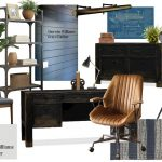 Hubby's Office Space / Masculine office space including blue shiplap, a black ...