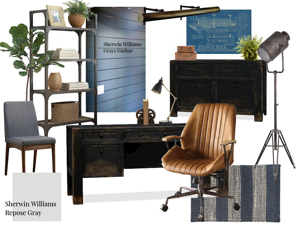 Hubby's Office Space / Masculine office space including blue shiplap, a black …