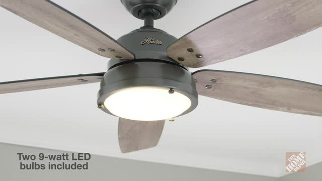 Hunter Channelside 52 in. LED Indoor/Outdoor Noble Bronze Ceiling Fan with Remote Control-59040 – The Home Depot