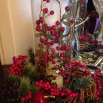 Hurricane lamp with berries.  Great and easy for our ABF Christmas Party at ABOC...