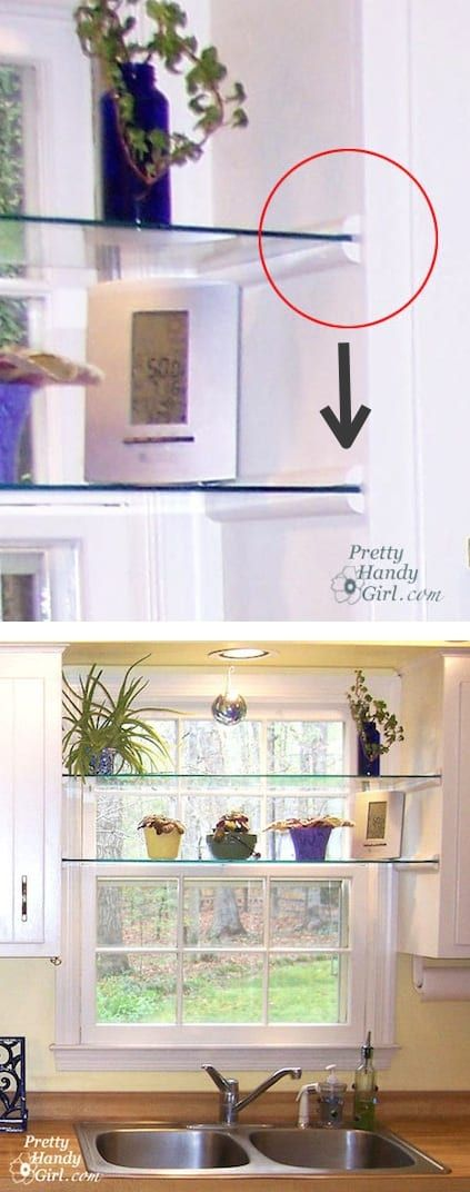 Install glass shelves in your kitchen window for plants and herbs! Great idea fo…
