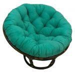 International Caravan 3312-MS-EM 42 in. Rattan Papasan Chair with Micro Suede Cushion, Emerald