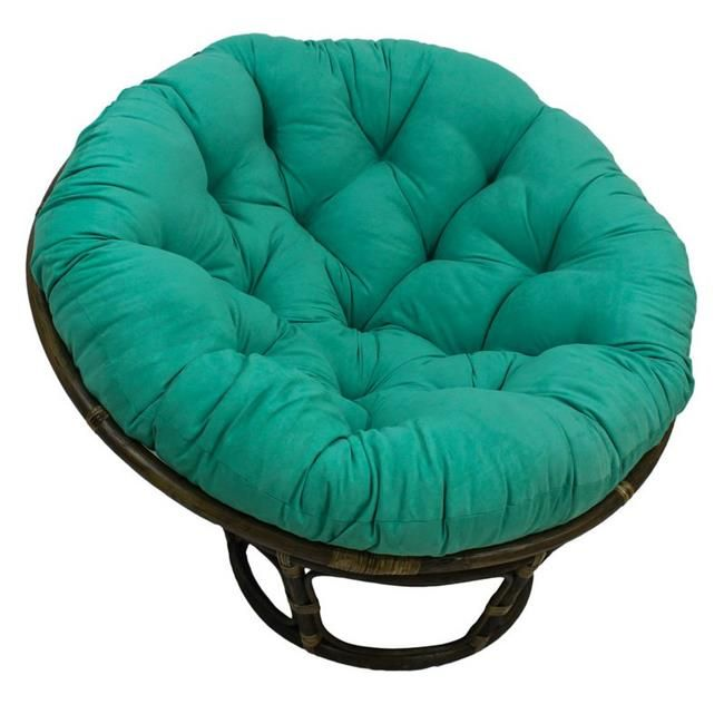 International Caravan 3312-MS-EM 42 in. Rattan Papasan Chair with Micro Suede Cushion, Emerald