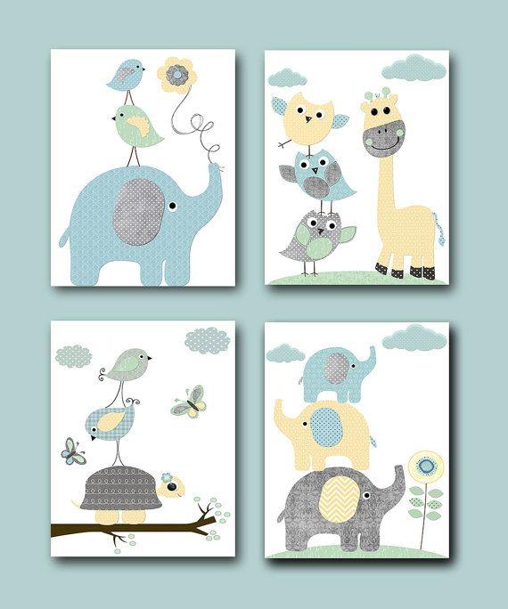 Items similar to Instant Download Wall Art Elephant Wall Art Giraffe Wall Art Digital Nursery Decor Baby Boy Nursery Art Digital Download set of 4 8×10 11X14 on Etsy