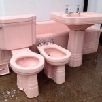 Items similar to Stunning Pink Art Deco Bathroom Suite - Rare and complete set with Bath, Toilet, Pedestal Sink, Bidet and loo roll holder! on Etsy