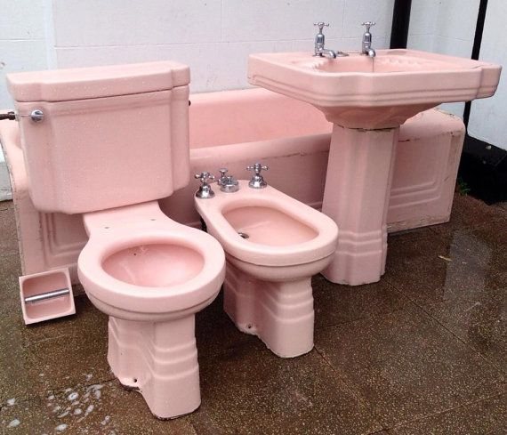 Items similar to Stunning Pink Art Deco Bathroom Suite – Rare and complete set with Bath, Toilet, Pedestal Sink, Bidet and loo roll holder! on Etsy