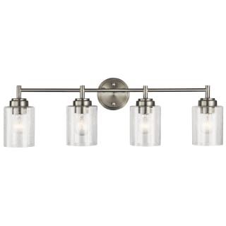 Kichler 45887NI Brushed Nickel Winslow 9″ Wide Ceiling Light with Seedy Glass Shade