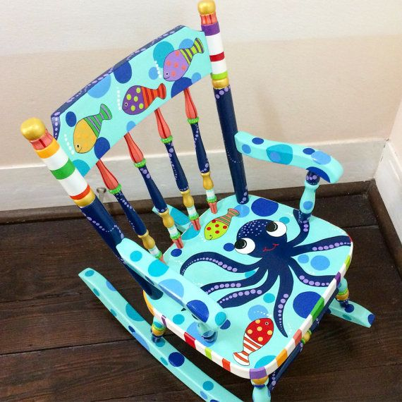 Kids' Sea Creatures Rocker Child's Sea life Rocker Rocking Chair for Child's Under the Sea Personalized Child's Rocking Chair Hand painted