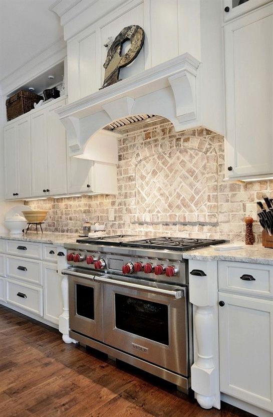 Kitchen Brick Backsplash. Kitchen with granite countertop and brick backsplash. …