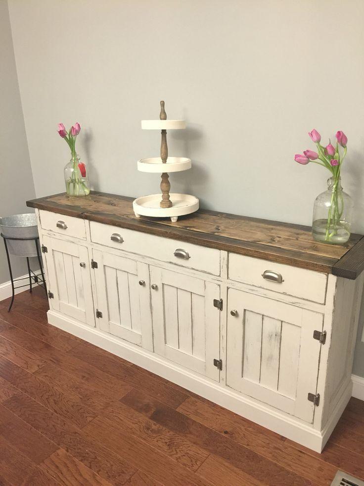Kitchen Sideboard Buffet interior: white sideboard buffet cabinet diy wood top country pretty doors HJWRELJ – Kitchen Ideas