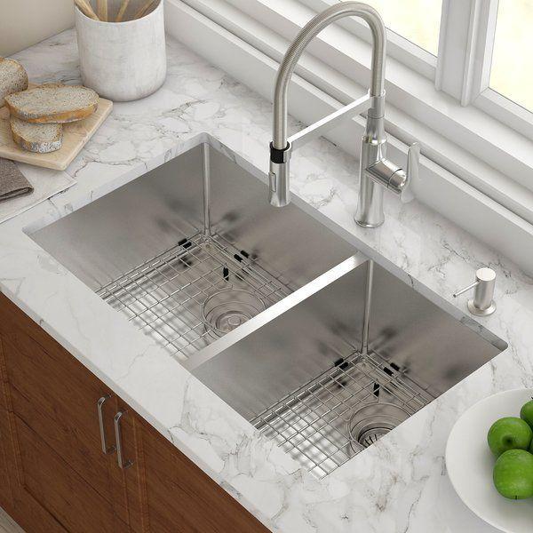 Kitchen Sink 33″ L x 19″ W Double Basin Undermount with Basket strainer