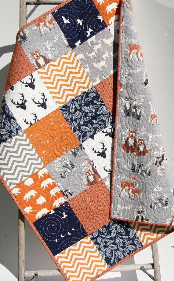 LAST ONES Baby Quilt, Boy, Woodland Baby Quilt, Rustic Baby Bedding, Toddler, Birch Forest, Woodlands, Crib Bedding, Orange, Navy Blue Gift