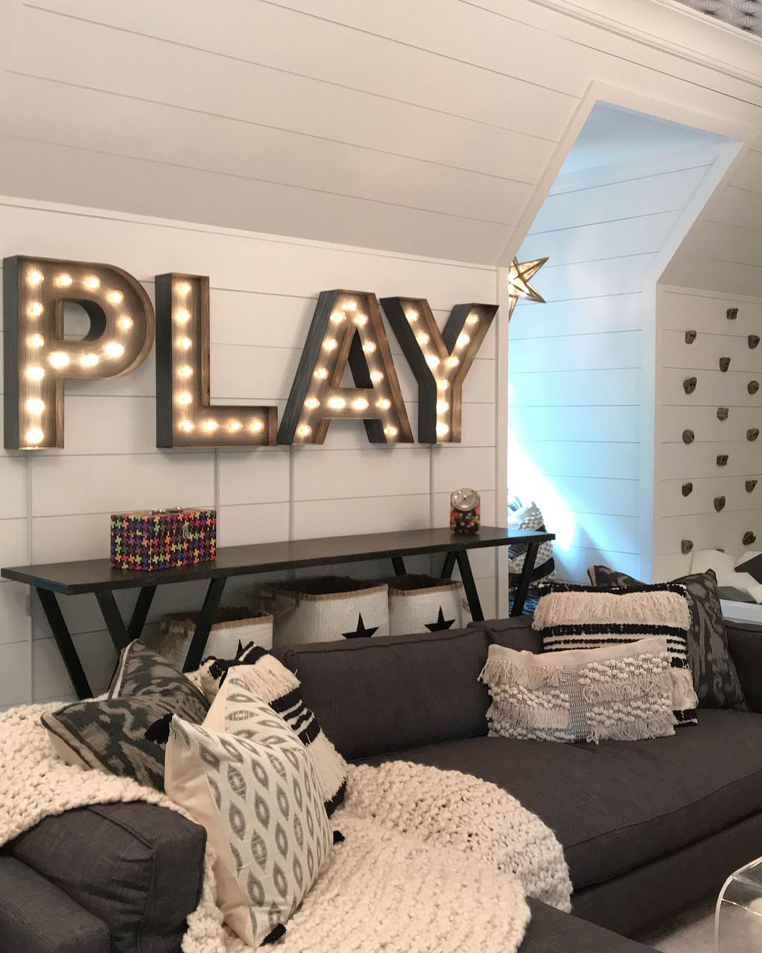 """LINEN & FLAX CO. on Instagram: """"Take a look at our recent project…Playroom Dreams! Every inch of this space is filled with form, function and whimsy! The black and white…"""""""