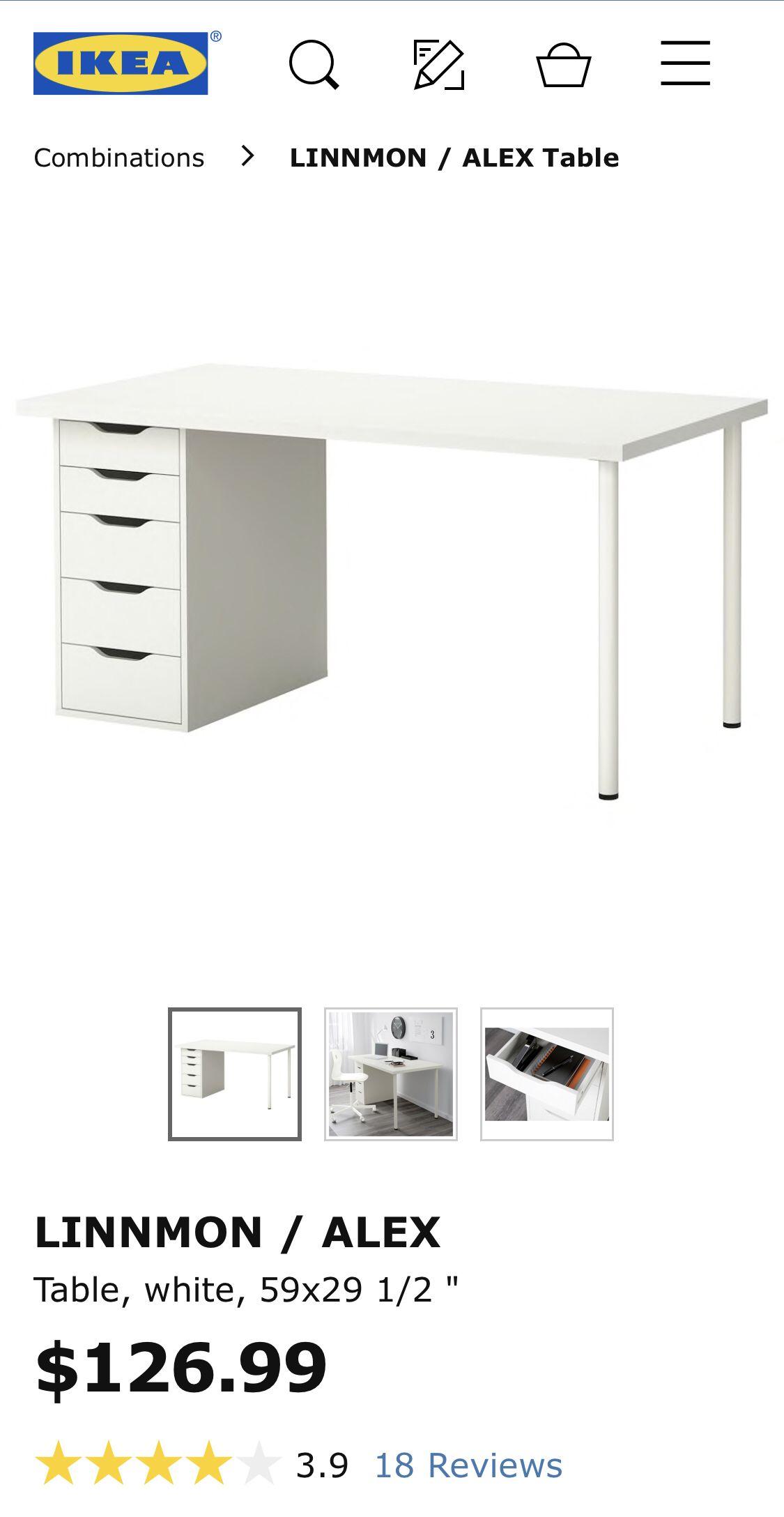 LINNMON / ALEX Table – white – IKEA