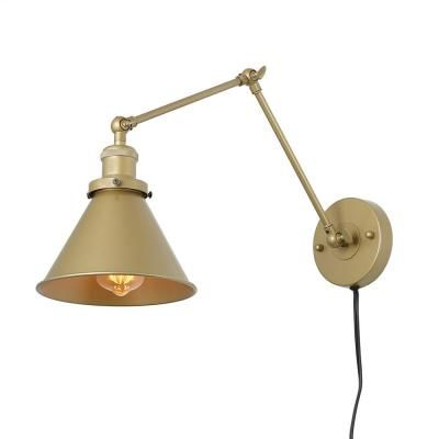 LNC 1-Light Gold Wall Lamp Adjustable Plug-In Wall Sconce-A03468 – The Home Depot