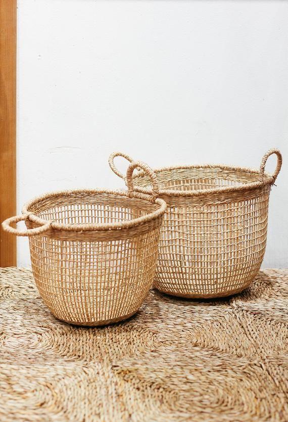 Large: 10.6″H x 12.6″ top diam Small basket: 9″ x 11″ diam, $40