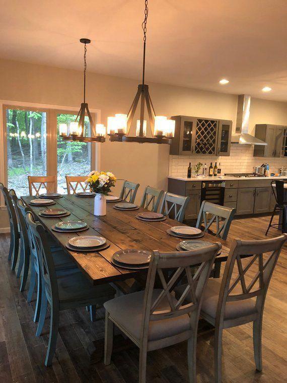 Large Farmhouse Table, Rustic Farm Table, Farmhouse Dining Table, Rustic Modern Table, Natural Wood Table, Rustic Table, Kitchen Table