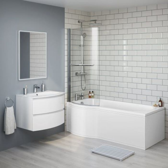 Left Hand P Shaped Bath 1500mm – With Rail, Screen & Panel | soak.com