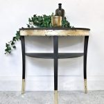 Legate furniture - hand painted half moon console table with shelf in Graphite and Gold Leaf | nuMONDAY
