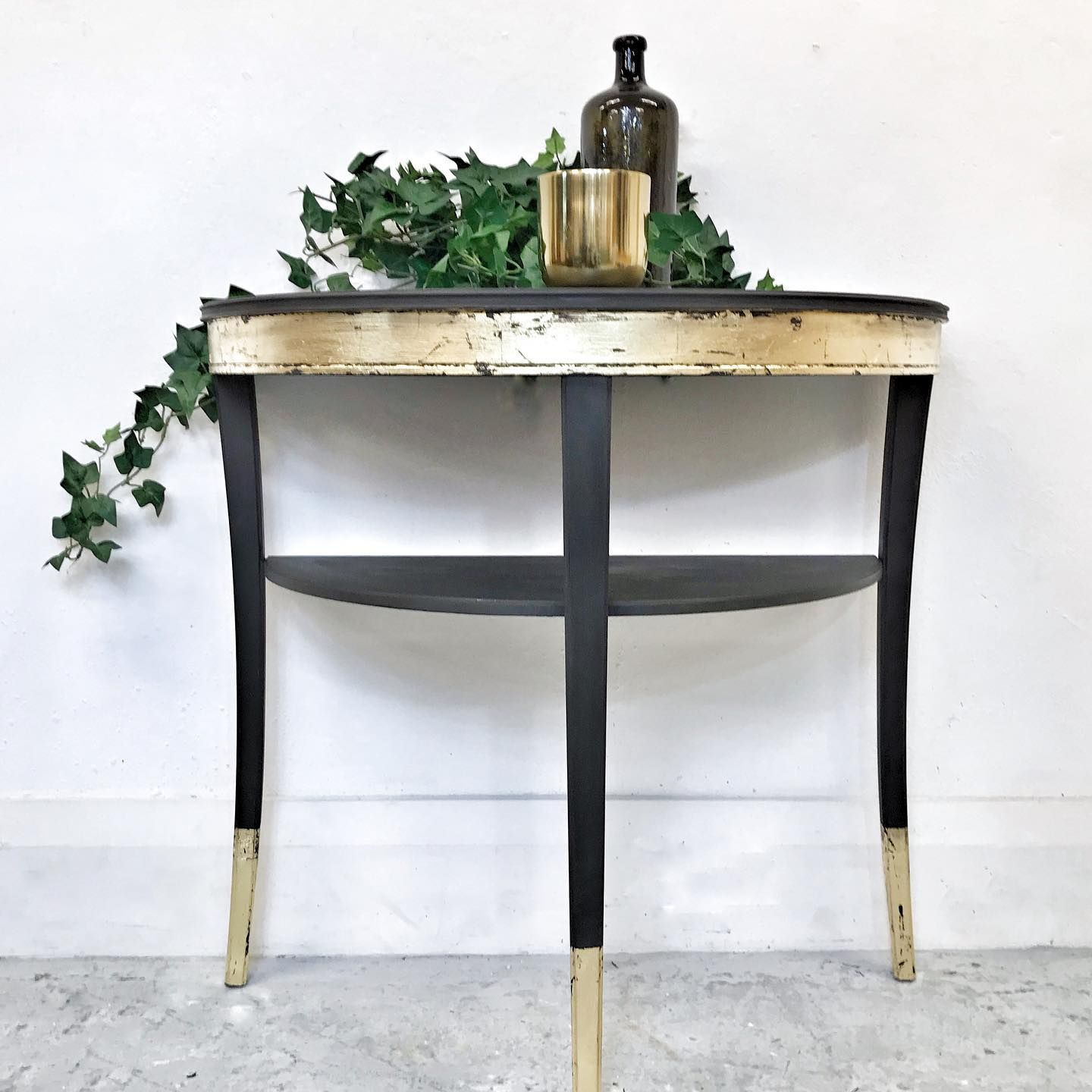 Legate furniture – hand painted half moon console table with shelf in Graphite and Gold Leaf   nuMONDAY