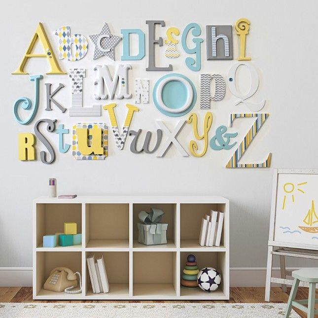Lemon, Grey Turquoise Alphabet Wooden Wall Letters Full Set