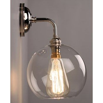 Lenham Contemporary Clear Glass Bathroom Wall Light