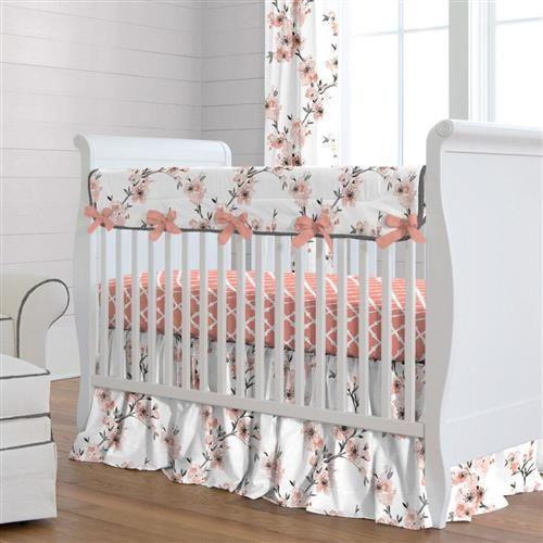 Light Coral Cherry Blossom Crib Rail Cover