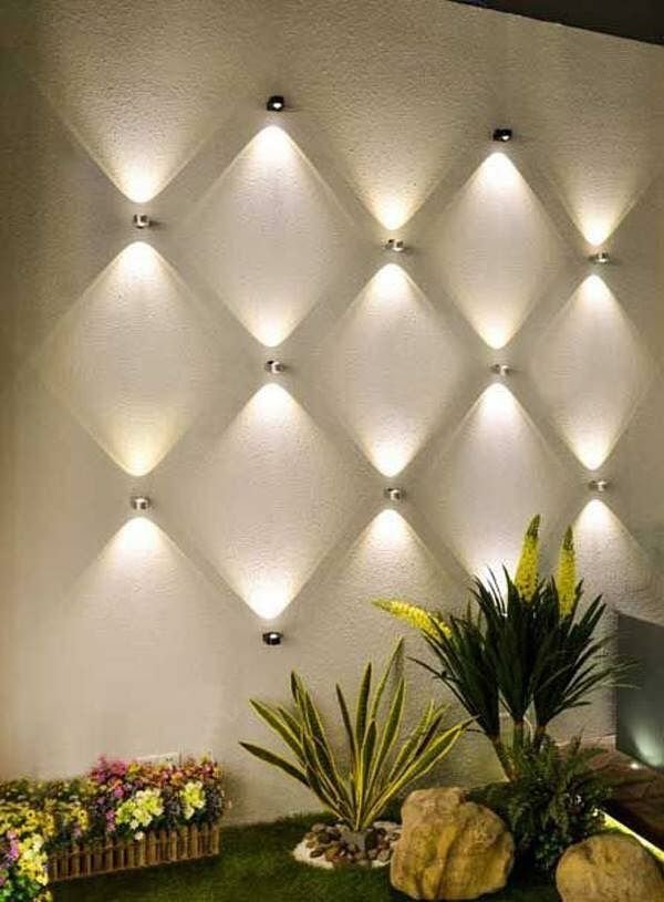 Light Wall Decor — multiple lights arranged on wall makes decor  statement …