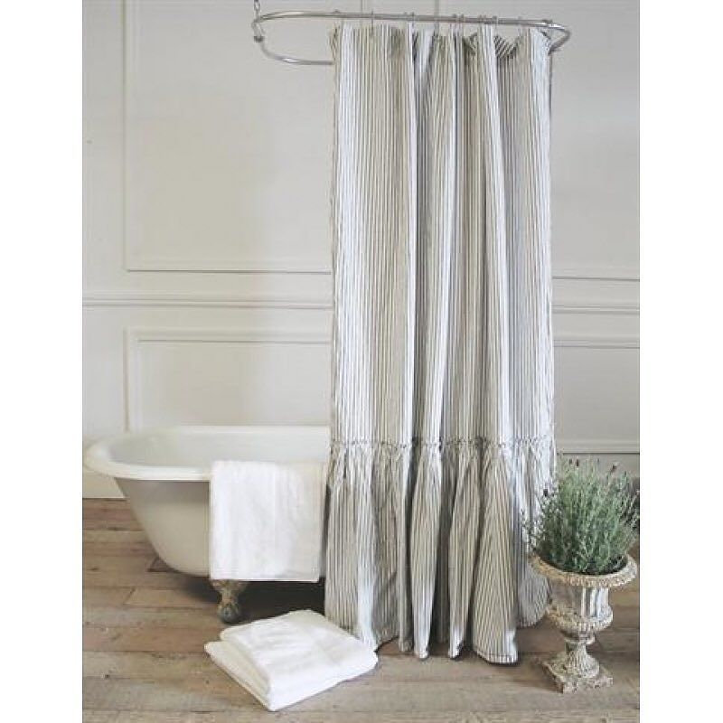 Linen Shower Curtain with Mermaid Long Ruffles – Pick Color