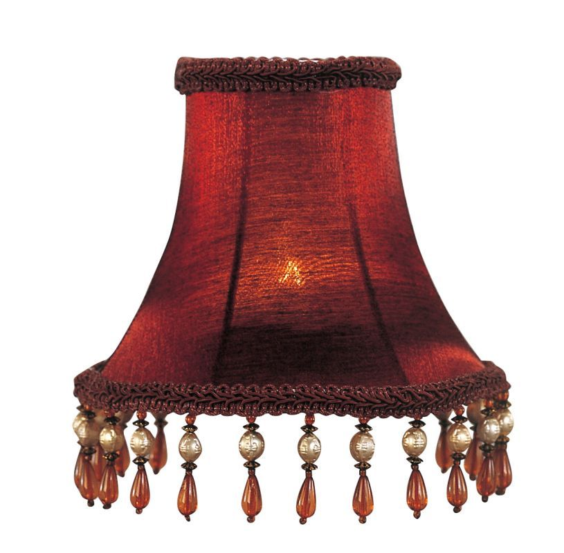 Livex Lighting S158 Red Silk Bell Clip Shade with Amber Beads Chandelier Shade with Red Silk Bell Clip Shade with Amber Beads from Chandelier Shade Series
