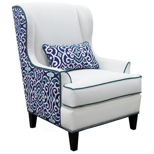 Logan Wing Chair – Heavenly Oyster & New Damask Marine